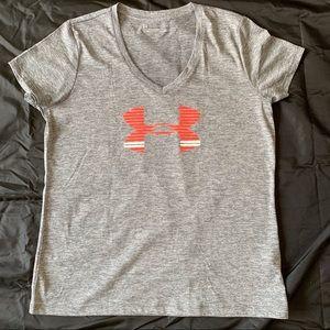 Under Armour grey HeatGear v-neck T-shirt